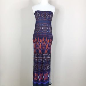 ASOS Blue & Orange Strapless Tube Maxi Dress